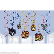 TRANSFORMERS BIRTHDAY PARTY SUPPLIES DECORATIONS SWIRL FOIL HANGING DECORATIONS