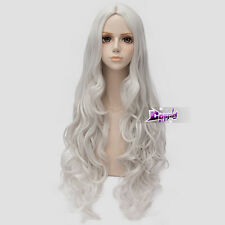 Silver White Long Curly Wig for FAIRY TAIL Mirajane·Strauss Anime Cosplay Wig
