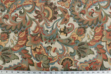 Drapery Upholstery Fabric Jacquard Floral Peacock Blue, Orange, Brown on Ivory