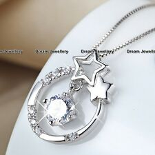 Moon Star Crystal Silver Necklace Pendant Christmas Gift for her Girlfriend GF