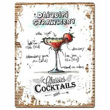 PP0685 Cocktails Daiquiri Strawberry Chic Plate Sign Home Bar Store Cafe Decor