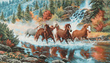 WALL JACQ. WOVEN TAPESTRY Wild Horses WILDLIFE MUSTANG ANIMAL LANDSCAPE PICTURE