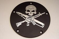 Custom  V-Twin Derby Cover Fits Harley Davidson AR-15 with skull  Black