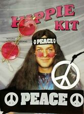 Hippie Boy Set mit Brille Peace Stirnband Kette NEU Karneval Fasching Party  506