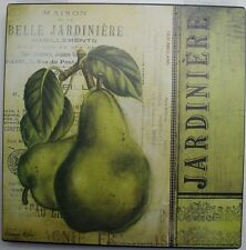 Iron Tin Metal Sign Home Kitchen Jardinere Pears vintage Antique Decor wall art