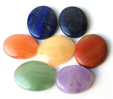REIKI ENERGY CHARGED COMPLETE CHAKRA PALM STONE SET OF 7 NATURAL CRYSTAL HEALING