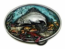 Fishing Belt Buckle Fish Trout With Sea Life Background Authentic C & J Buckles
