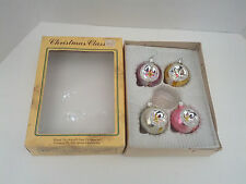 vintage round indent glitter hand decorated  holiday Christmas tree  ornaments