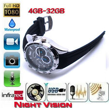 32GB 1920*1080P HD Waterproof Spy Watch Camera with IR Night Vision Hidden Cam