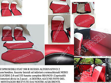 FIAT 500 R COPRISEDILI SERIE COMPLETA ROSSO ALTERNATIVO 2  bordino ,fasc NERO ..