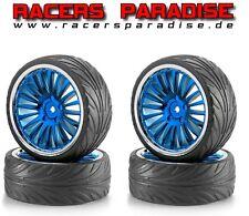 Carson Big Wheel set onroad 1:10 cromo/azul con neumáticos de perfil (4 unidades) # 900085