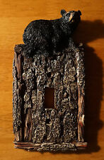 BLACK BEAR PINE BARK SINGLE SWITCH PLATE COVER SWITCHPLATE CABIN Home Decor NEW
