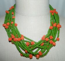 VTG Gold Tone Green Glass Beaded Carved Celluloid Flower Multi Strand Necklace