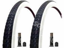 (Pair of) 26 X 1 3/8 Raleigh Record White Wall Tyres And Tubes Raleigh Schrader