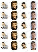 20 JUSTIN BEIBER Water Slide Nail  Decals 5 EACH OF 4 DESIGNS. NAIL ART DECALS