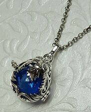 Floral Teardrop Urn Locket | Blue Glass Urn Jewelry |  Fillable Jewelry | Urn