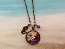 NAUTICAL MERMAID DESIGN GLASS CABOCHON BRONZE SETTING CHARM CHAIN BEAD PENDANT