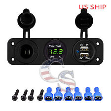 P3 Green Waterproof Voltmeter 12-24V & Dual USB 3.1A Charger Motorcycle Boat Car