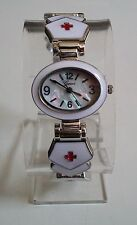 SILVER/WHITE FINISH RED CROSS FOR NURSE WOMEN'S BANGLE CUFF  FASHION WATCH