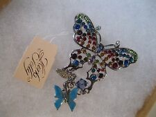 "KIRKS FOLLY ""COLLECTORS CLUB BUTTERFLY BROOCH""W/SILVER FINISH-BEAUTIFUL!"