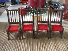 MINIATURE DOLLHOUSE SET OF 4 DINNING CHAIRS WITH RED SEATS