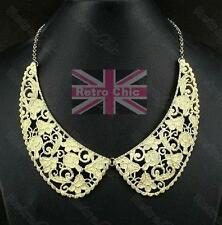 ORNATE FILIGREE peter pan COLLAR NECKLACE chain VINTAGE STYLE gold plated