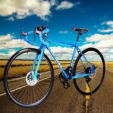 700C 26inch Carbon Steel Road Commuter Bike Racing Bicycle 21 Speed Blue