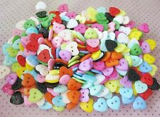 100pcs 10mm Heart Mixed Colors Resin Buttons Fit Sewing /Scrapbooking