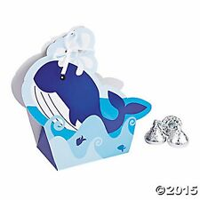 12 NAUTICAL WHALE SAILOR TREAT BOXES NEW Nautical Favors Birthday Baby Shower