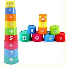 Plastic Stacking Rainbow Stack Up Cups Blocks Kids Childrens Educational Toy