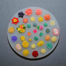 SILICONE MOLD - 34 TINY FLOWERS SET - resin polymer clay fimo food use mould
