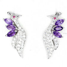 BEWITCHING NATURAL GEM PURPLE AMETHYST,RED RUBY CZ 925 SILVER PEACOCK EARRINGS