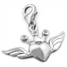 925 Sterling Silver Love Heart Angel Wings Crown Flying Clip-on Charm Gift C2