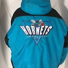Vintage 90s Logo 7 Charlotte Hornets Hooded Puffy Jacket L Aqua Blue NBA Winter