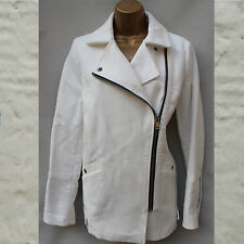 Next White Cotton Tailored Structured Side Zip Jacket Coat Blazer 14 UK