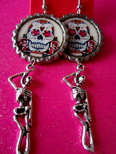 Day Of The Dead Sugar Skull With Skeleton Dangle Charm Earrings #15