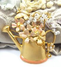 Vintage Costume Figural Brooch Water Can Enamel Floral Butterfly Pin Gold tone