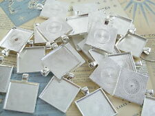 "25 Qty - 1"" Square Pendant Trays - Shiny Silver Color - Cameo Crafts 25mm 1 inch"