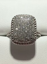 SOLID 925 Sterling CZ Celebrity Vampire Micro Pave Engagement Ring Sz 8