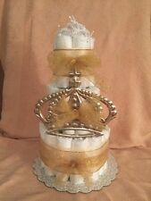 3 Tier Diaper Cake Prince Charming Fairy Princess Crown Baby Shower Centerpiece