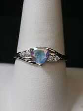 Stunning 10k White Gold Simulated White Stone and CZ Heart Ring Make Offer #1931