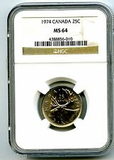 1974 CANADA 25 CENT NGC MS64 CARIBOU QUARTER MS UNCIRCULATED ONLY 14 KNOWN