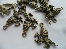 10 x Dragon Charms,Beads~Antique Bronze~Jewellery, Card making crafting hobby