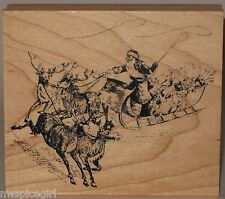 Rubber Stamp - Santa Claus and Sleigh with Reindeer - Christmas