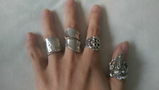 4 Genuine 925 Sterling Silver Rings Elephant 3D Ganesh OM Yoga India adjustable