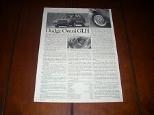 1984 DODGE OMNI GLH   ***ORIGINAL ARTICLE***