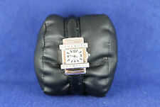 Ladies Cuff Style Square Face Quartz Wrist Watch Accented With White Stones