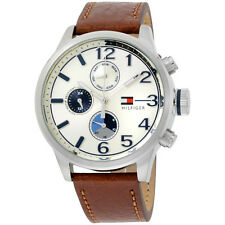 Tommy Hilfiger Chronograph Beige Dial Leather Strap Men's Watch 1791239
