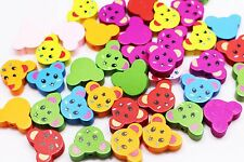 Bear Wooden Bead Animal Shape Children Baby Mixed Color Wood Beads 19mm 20pcs