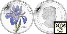 2013 Blue Flag Iris Colorized & Crystallized Prf $20 Silver Coin .9999 (13171)